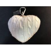 Сердце вязанное 9х8 белое