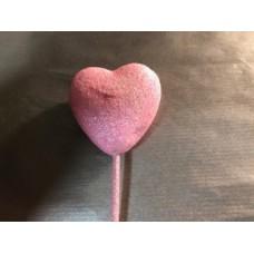 Сердце - пик 4 см розовое