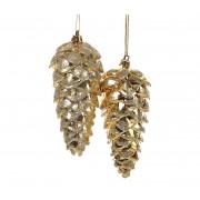 Елочные украшения Шишка 14см (2шт), золото