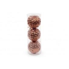Набор елочных шаров (3 шт) 8см, светло-коричневый