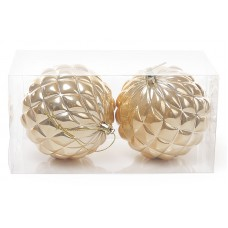 Набор елочных шаров (2шт) 10см, золотой перламутр