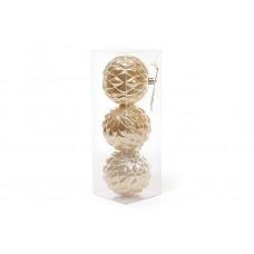 Набор елочных шаров (3шт) 8см, золотой перламутр