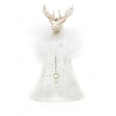 Колокольчик с головой оленя с пухом и снегом