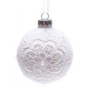 Елочный шар белый с кружевом,8 см