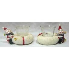 Новогодняя фигурка с подсвечником Снеговик 11.3см, 2 вида