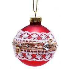 Елочный шар 6см красный с белым кружевом