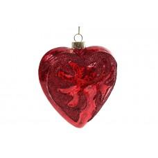 Елочное украшение Сердце 9см, красный антик
