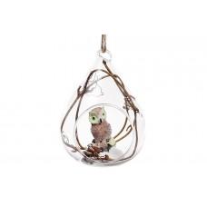 Елочное украшение 8.8см с фигуркой Сова и декором из веток